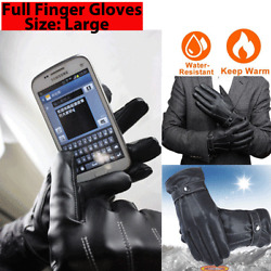 Kyпить Leather Gloves Motorcycle Men Full Finger Touch Screen Driving Winter Warm New на еВаy.соm