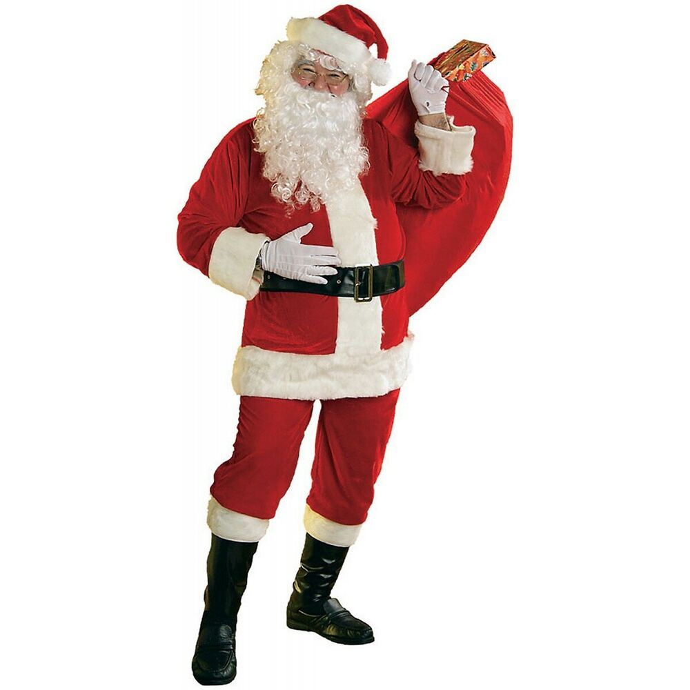 Santa costume adult soft velour claus suit christmas