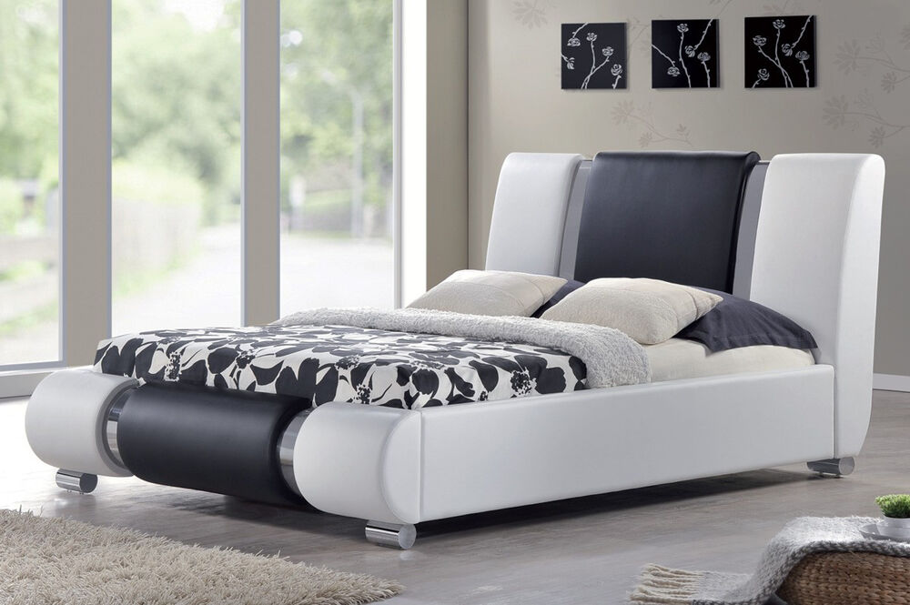 king bed size modern italian designer bed frame white black faux 10818