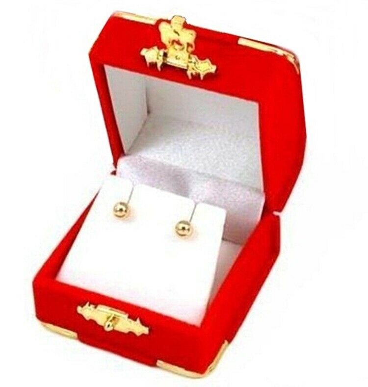 6 red velvet brass accent earring jewelry display for Red velvet jewelry gift boxes