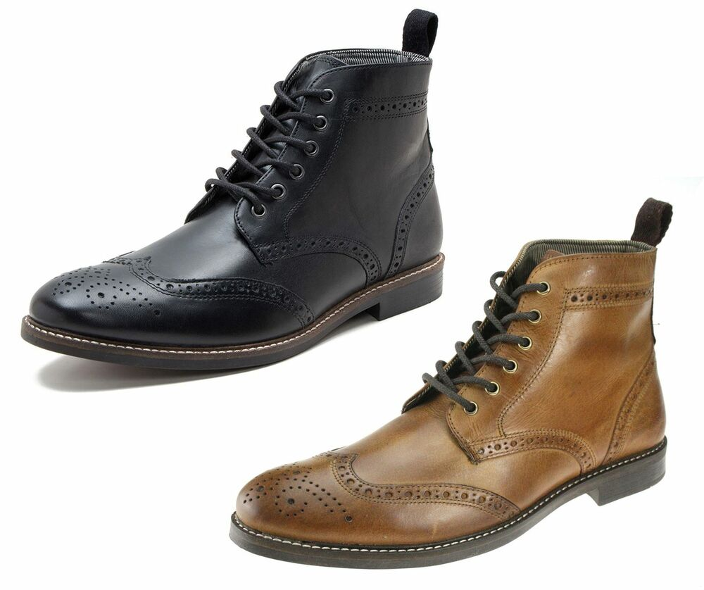Red Tape Glaven Brogue Lace Up Leather Mens Boots | eBay