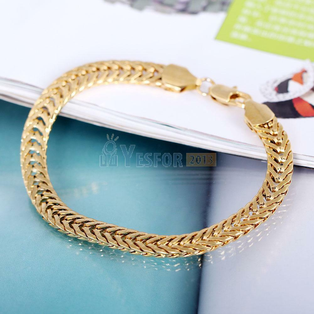 Gold Jewelry Bracelets: 18K Yellow Gold Filled Men's Thick Bracelet Link Curb