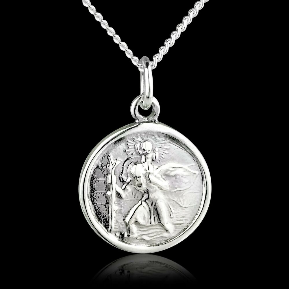 St Christopher 925 Sterling Silver Pendant 18 Quot Inch