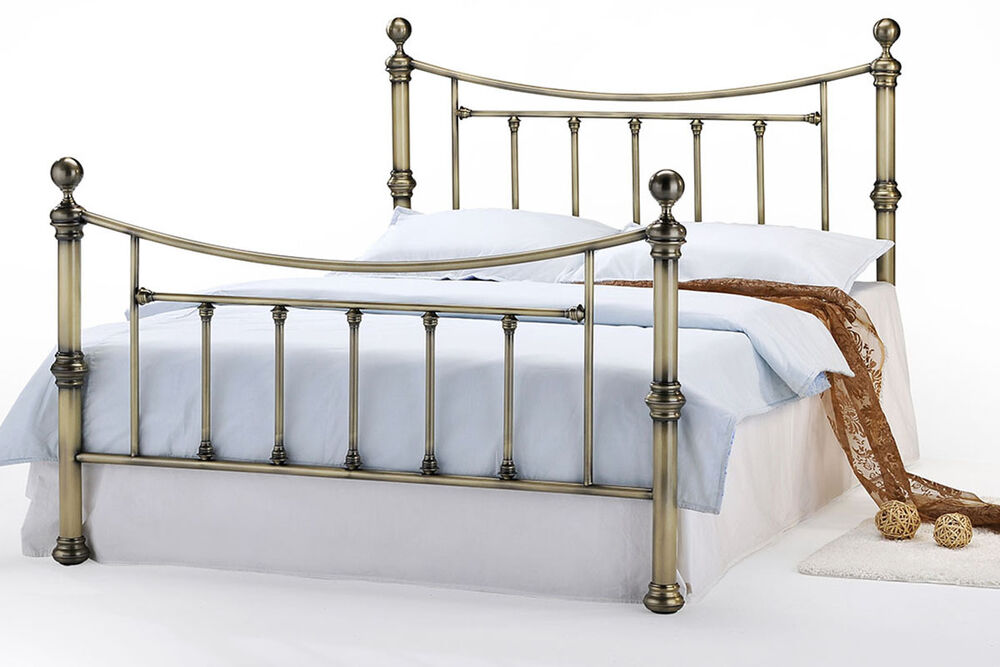 Luxury brass metal bed frame double or king size vintage for Exotic bed frames