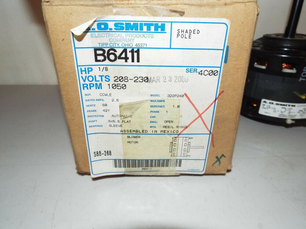 A.O. Smith B6411 1/8 HP 208-230 Volt 1050 RPM Blower Motor B6411 ...