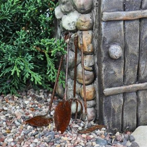 Fairy garden rustic metal tiny tools yard