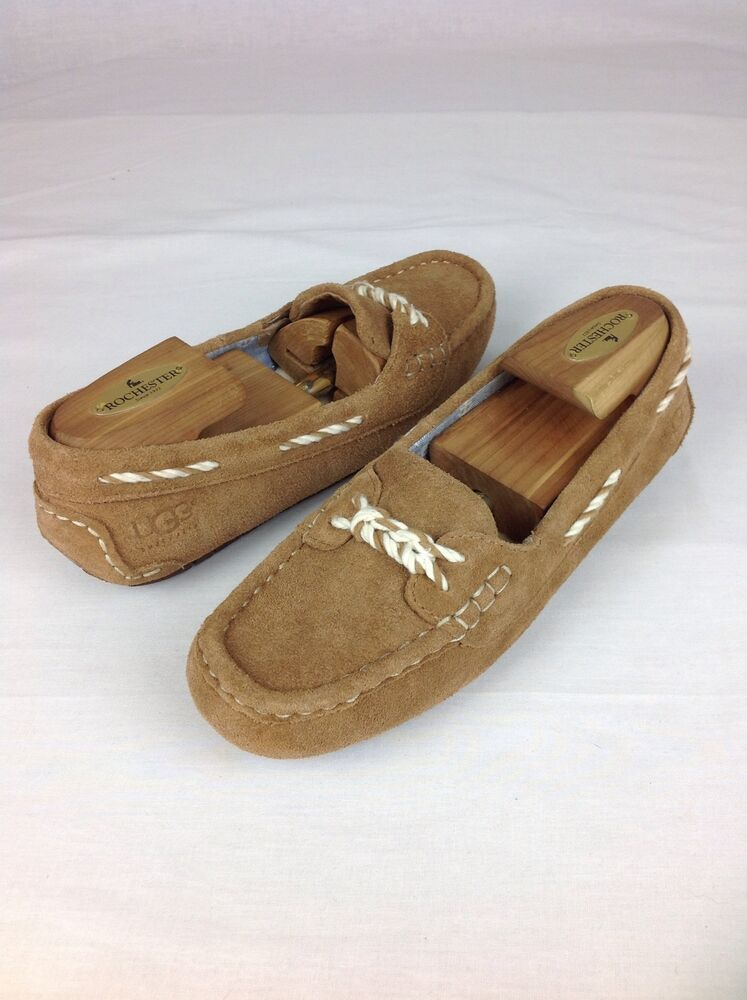 ugg australia genoa chestnut nautical moccasin slippers size 6 us