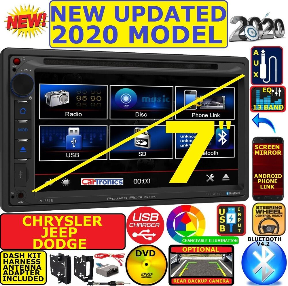 Chrysler Jeep Dodge Power Acoustik Bluetooth Double Din Dvd Stereo 2008 Pontiac G5 Wire Harness Kit Ebay