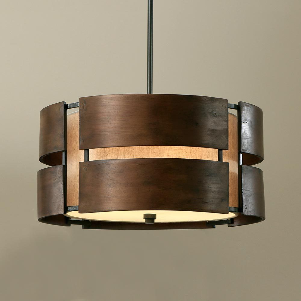 walnut 3 light drum chandelier wood shade pendant lamp. Black Bedroom Furniture Sets. Home Design Ideas