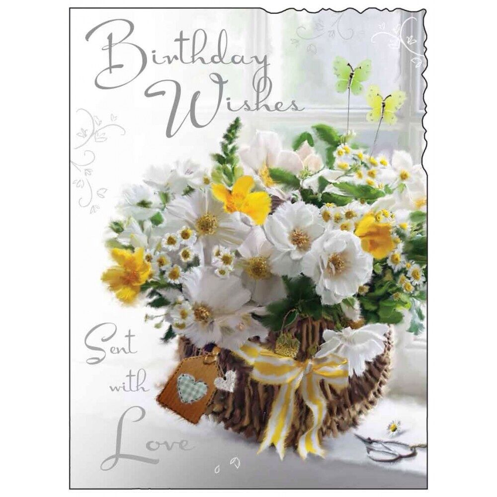 Birthday Card Female Lady Happy Birthday Flowers Luxury Modern