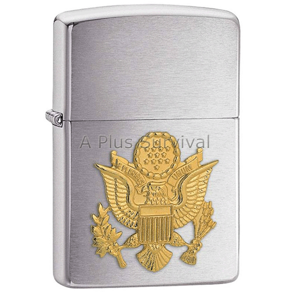 US Army Emblem Zippo Lighter Fire Starter for Camping