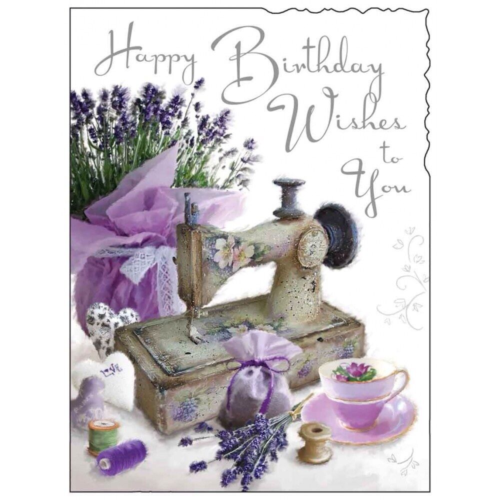 Birthday Card Female Lady Happy Birthday Sewing