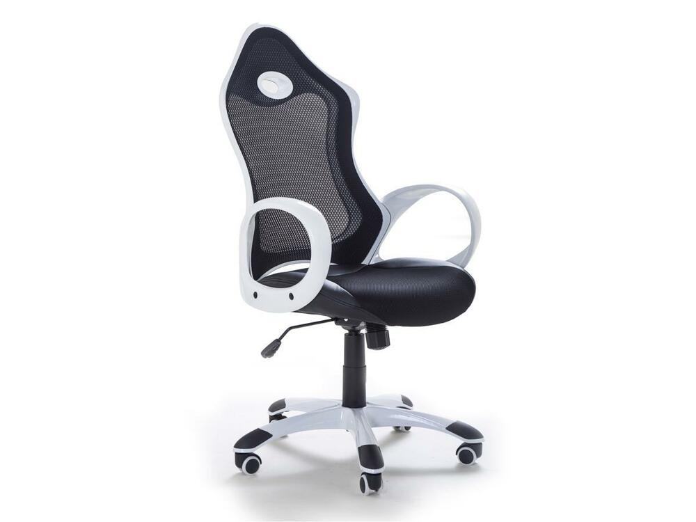 fauteuil de bureau design d 39 ordinateur chaise pour travail noir blanc ebay. Black Bedroom Furniture Sets. Home Design Ideas