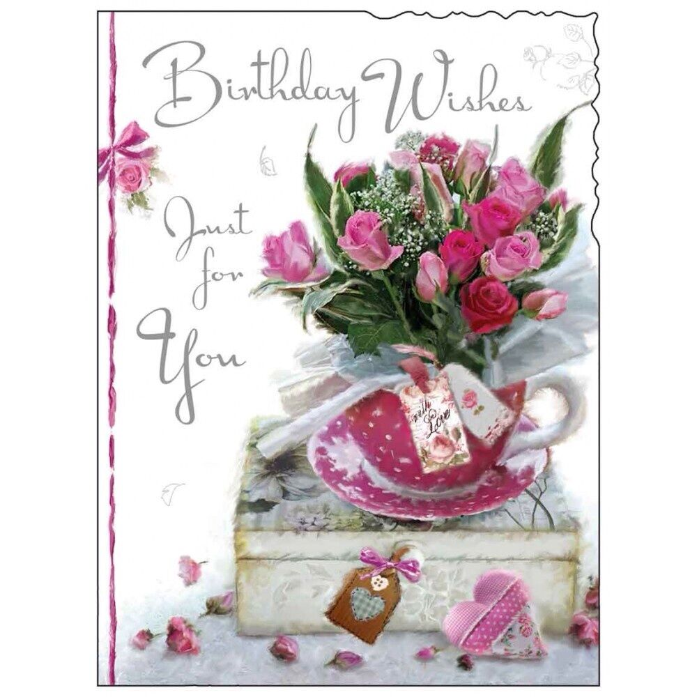 Details About Birthday Card Female Lady Happy Roses Luxury Modern
