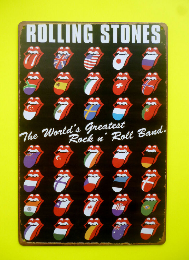 nostalgie blechschild rolling stones rock n roll retro. Black Bedroom Furniture Sets. Home Design Ideas