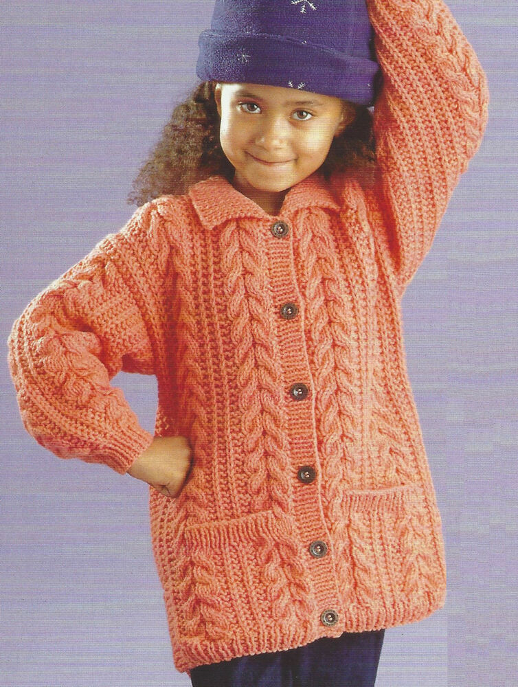 Knitting Patterns For Cable Jackets : Girls Cable Jacket 18-28