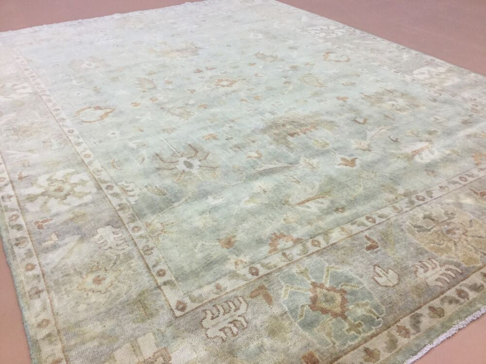 9 X 12 Muted Green Beige Oushak Persian Oriental Area Rug