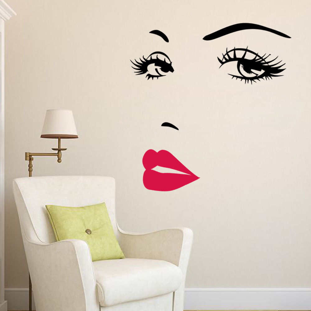 Wall Art Decals For Living Room: Marilyn Monroe Face Eyes Sexy Red Lip Home Decor Wall