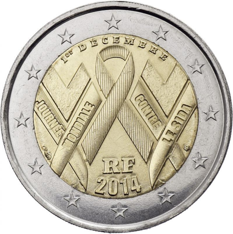 france 2 euro coin 2014 world aids day unc ebay. Black Bedroom Furniture Sets. Home Design Ideas