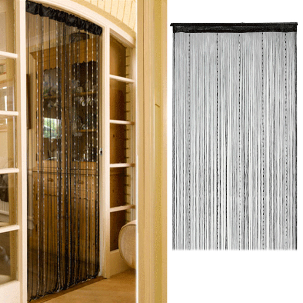 Room Door Window Black String Beads Fringe Curtain Wall