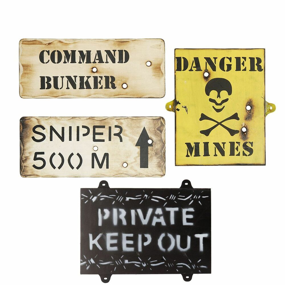 set of 4 wooden army wall signs army bedroom signs