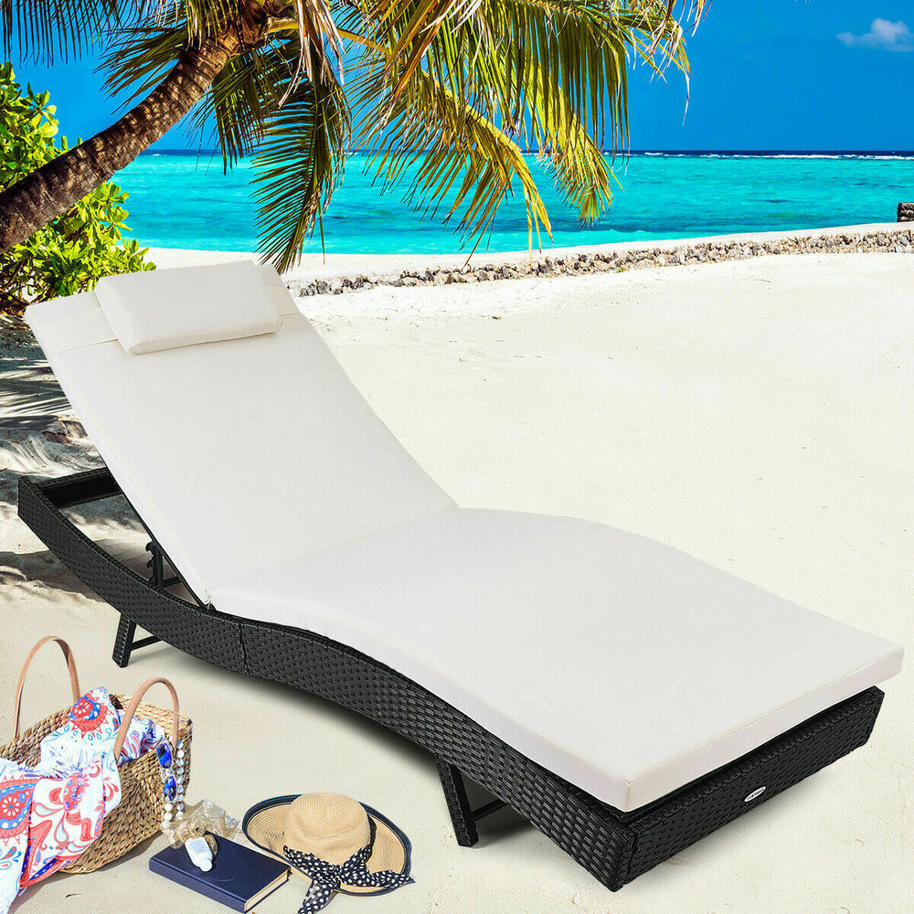 Adjustable Pool Chaise Lounge Chair Outdoor Patio Furniture PE Wicker W Cushi