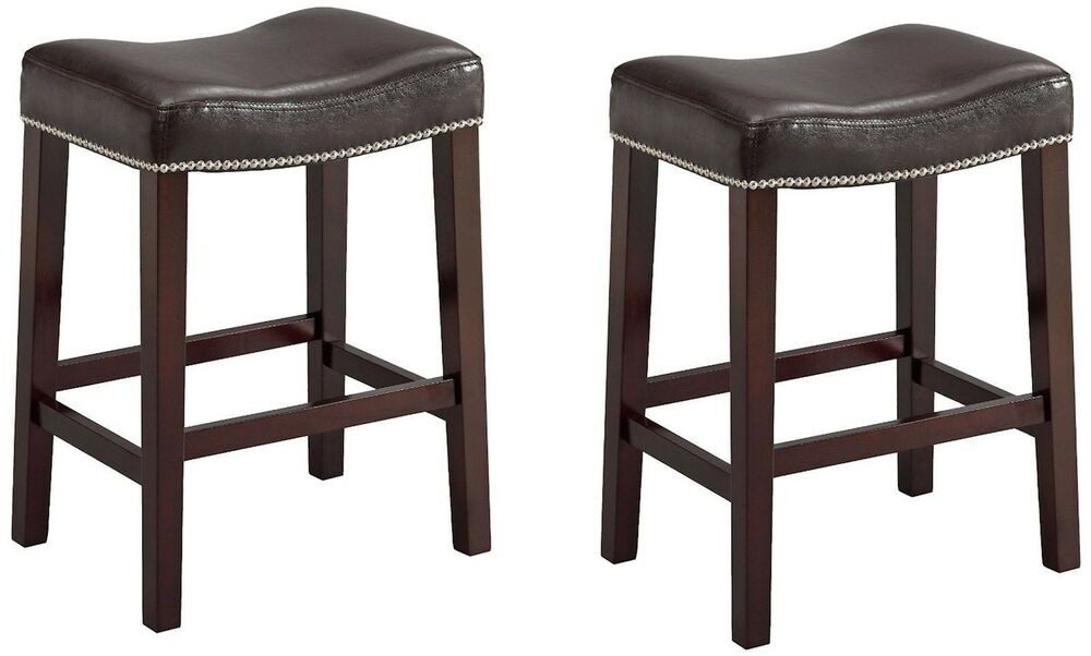Faux Leather Wood Saddle Stool Chair Espresso Seat Amp Legs