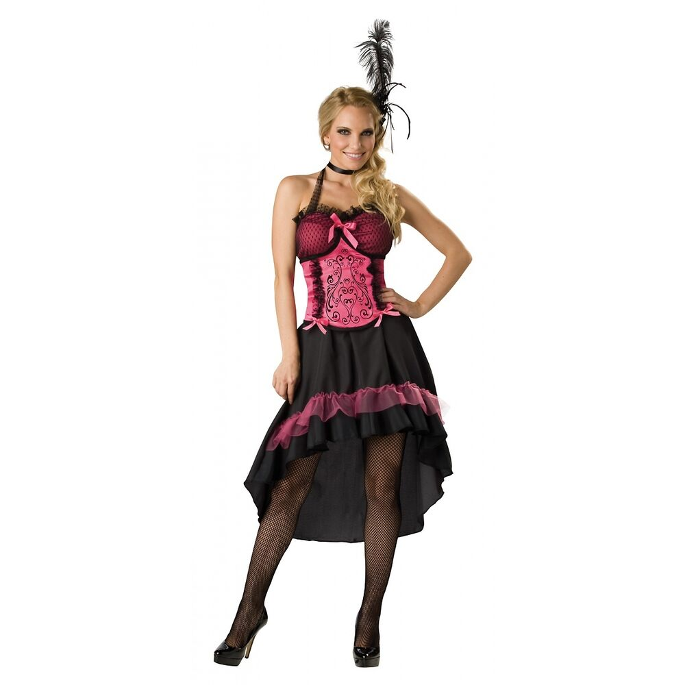 Saloon Girl Costume Adult Can Can Dancer Halloween Fancy Dress | eBay