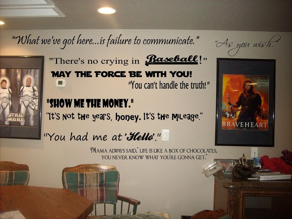 Movie Quotes Wall Art : Movie quotes wall lettering decals for theater room art