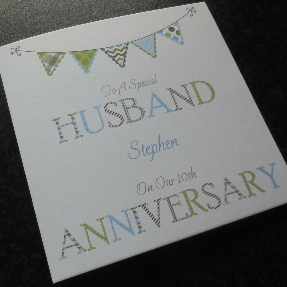 Personalised handmade wedding anniversary card husband