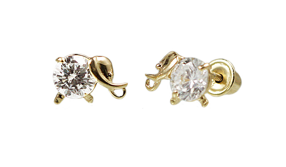 children s back earrings 14k solid yellow gold elephant back baby stud 9133
