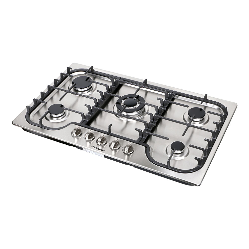 "5 Burner Gas Cooktops: 34"" Fashion Lines Stainless Steel 5 Burner Built-In Stoves"