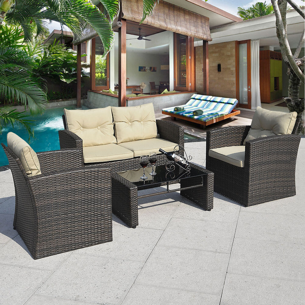 4pcs gradient brown wicker cushioned patio set garden sofa for Bamboo outdoor furniture