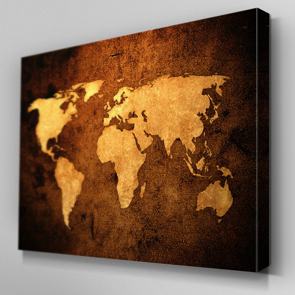 Ab092 Sepia Leather World Map Canvas Wall Art Ready To