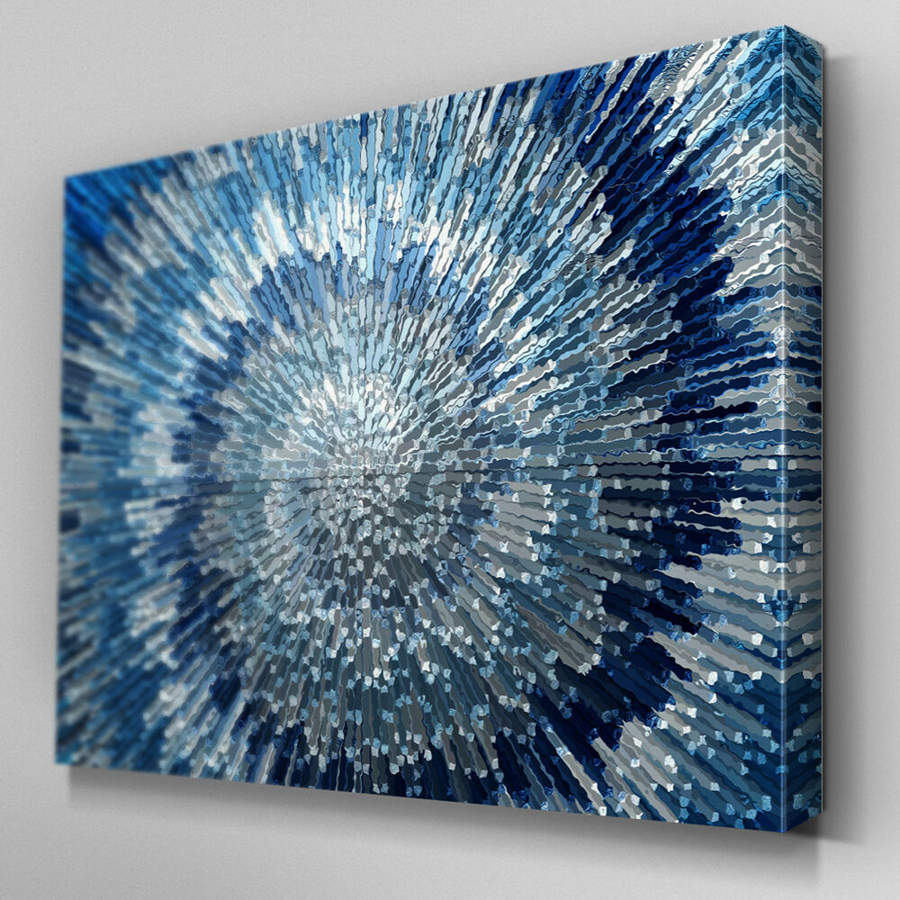 Ab283 Blue Silver Swirl Design Canvas Wall Art Ready To