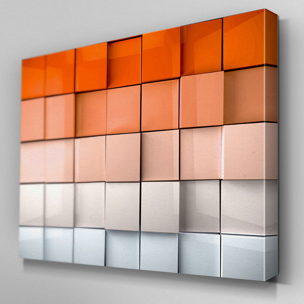 Wall Art Canvas Ready To Hang : Ab orange abstract depth canvas wall art ready to hang