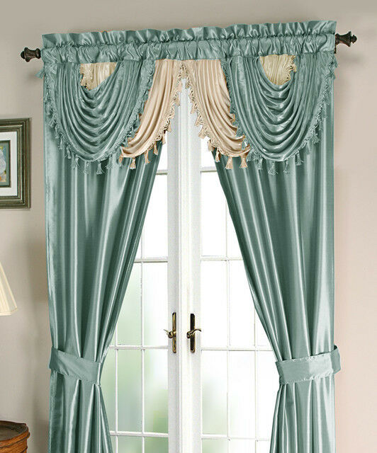 Window With Attached Valance Curtains : Luxurious amore panel w attached valance pc window