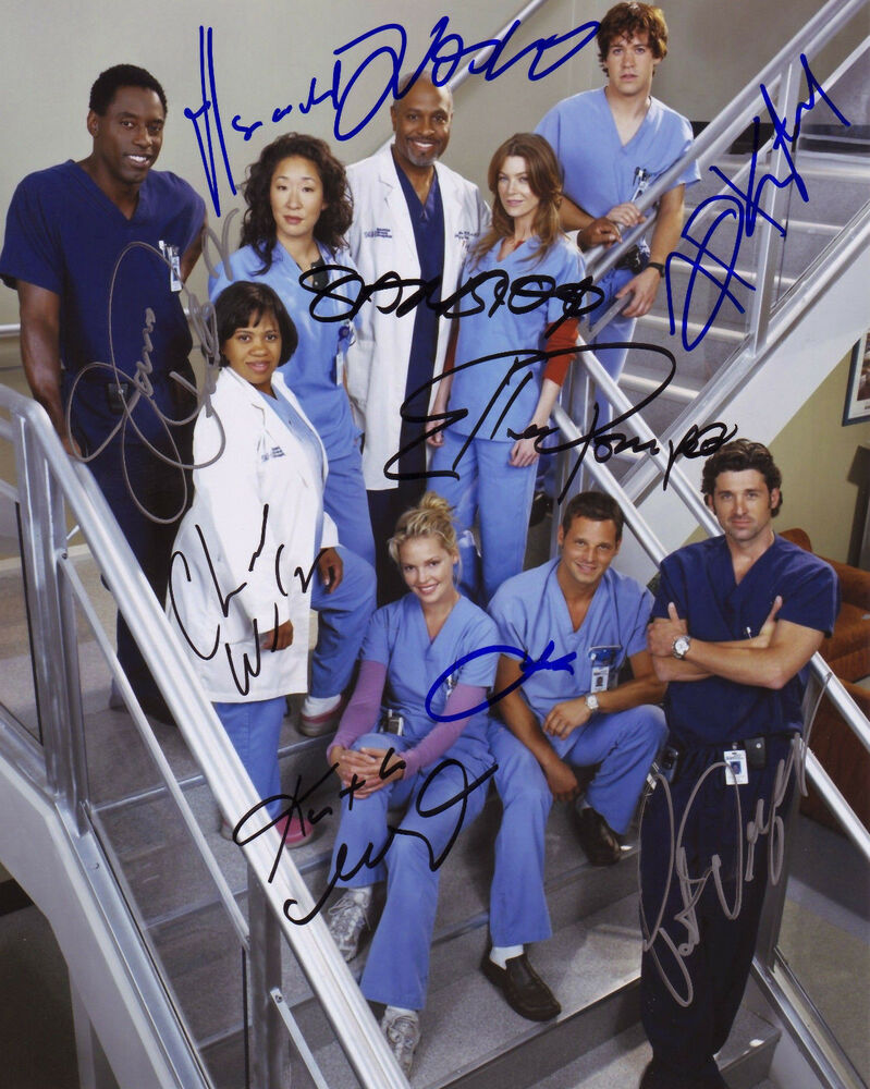 GREYS ANATOMY CAST OF 9 AUTOGRAPH SIGNED PP PHOTO POSTER ...