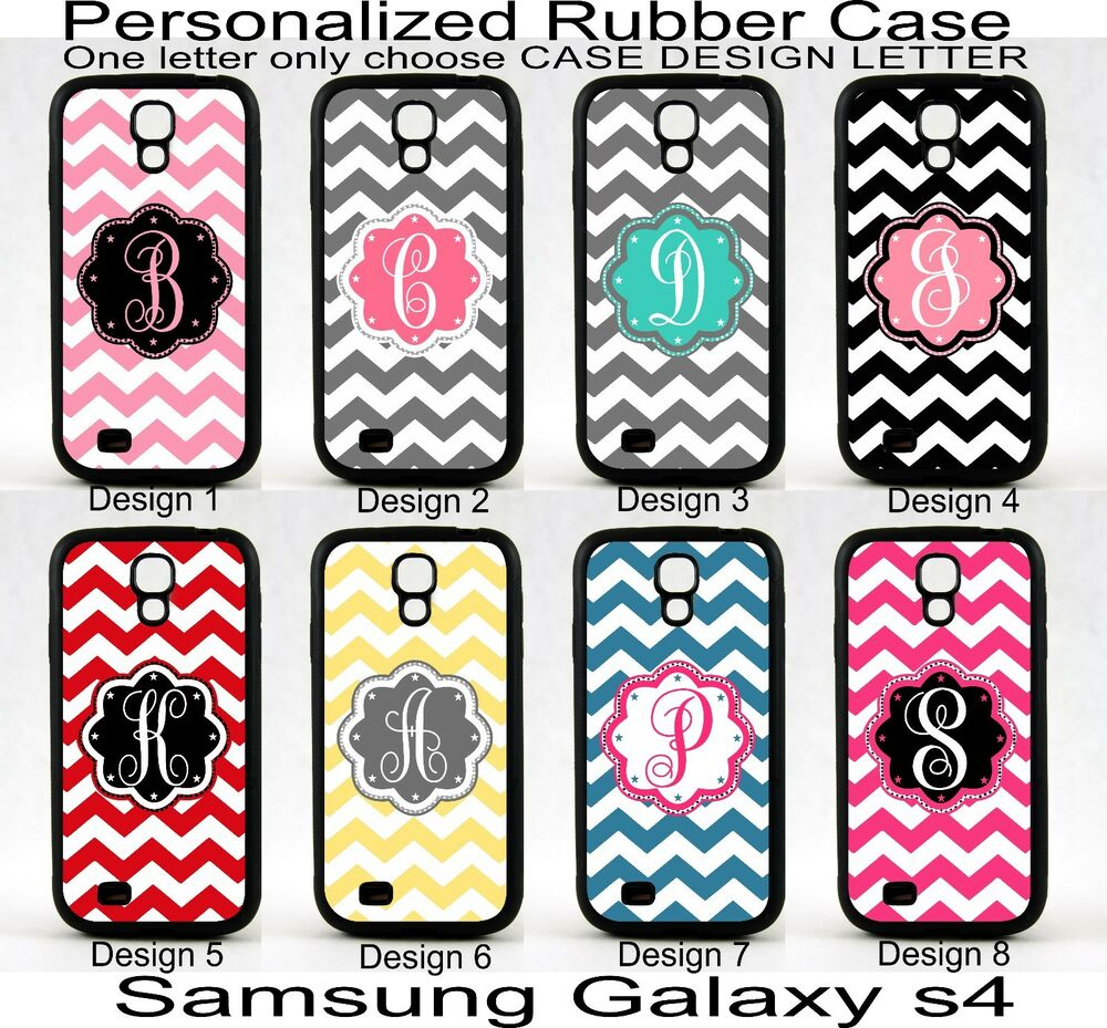 for samsung galaxy s4 personalized monogram one letter chevron rubber phone case