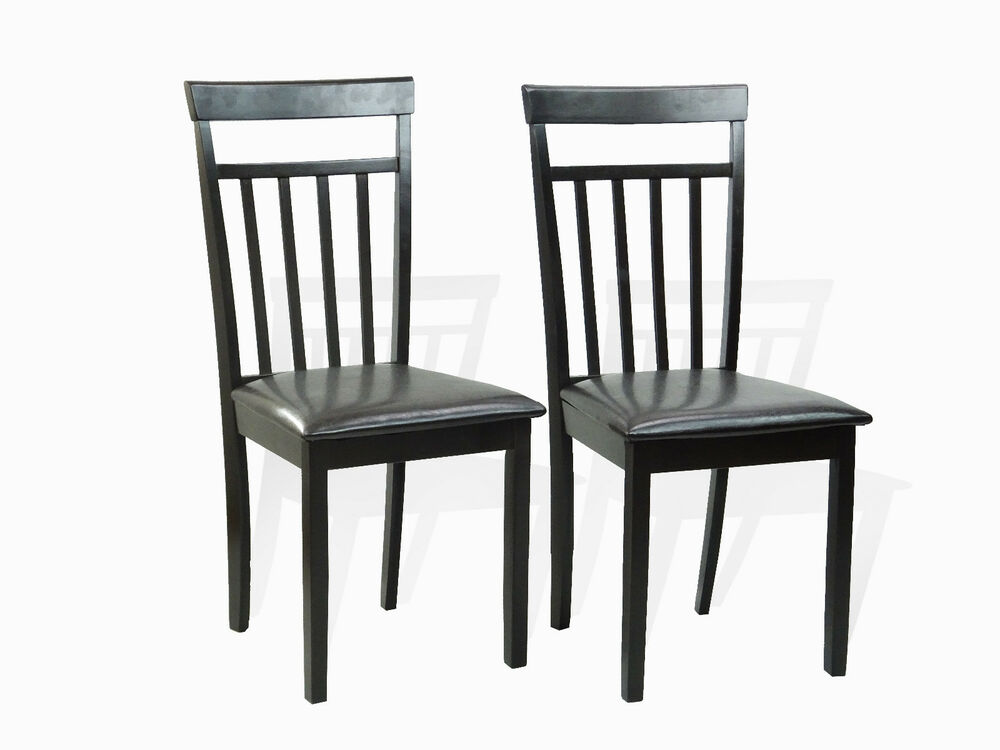 Set of 2 warm dining room kitchen chairs solid wood in for Wooden dining room chairs