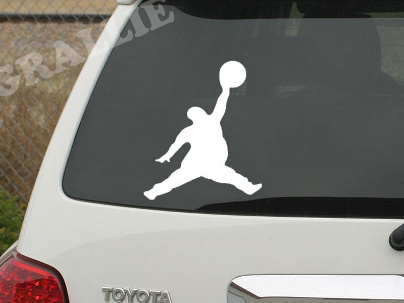 Fat michael air jordan jumpman funny vinyl window auto car sticker decal die cut ebay