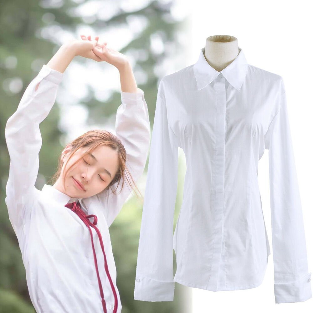 women white long sleeve blouse peaked collar uniform shirt