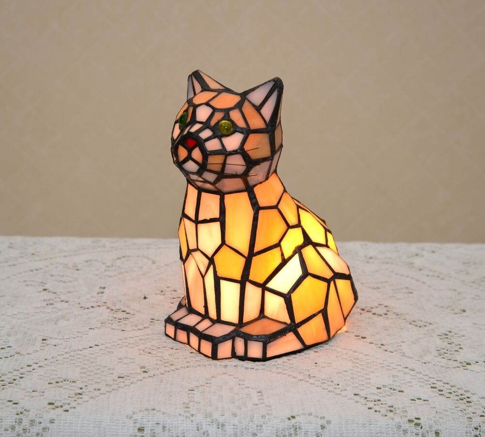 Stained Glass Tiffany Style Kitty Cat Night Light Table