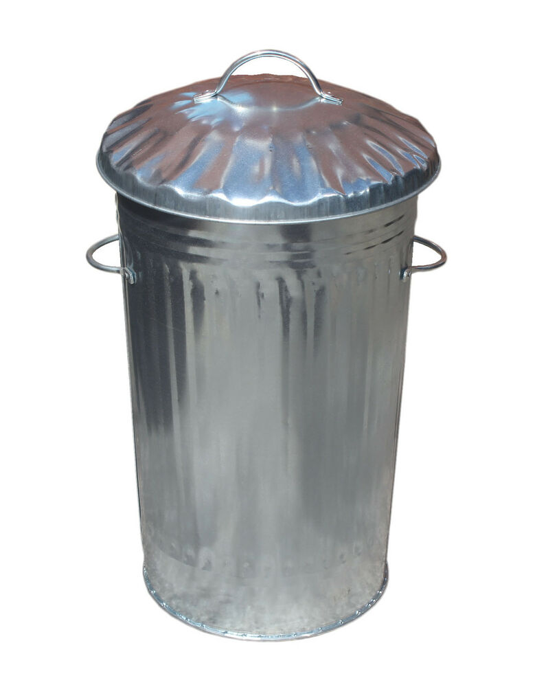 46L Litre Galvanised Metal Bin Slim Retro Kitchen Rubbish Waste