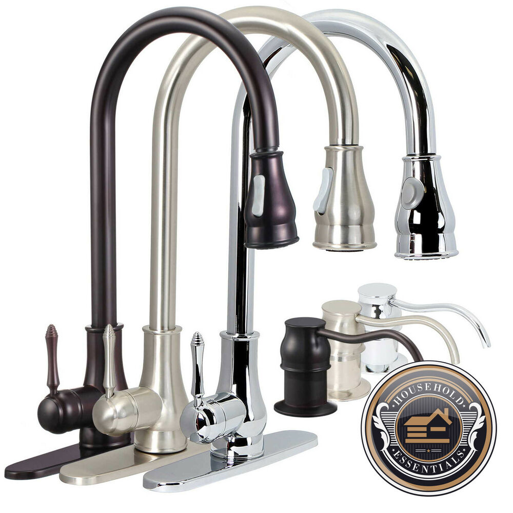18 Pull Down Kitchen Sink Faucet With Soap Dispenser Ebay