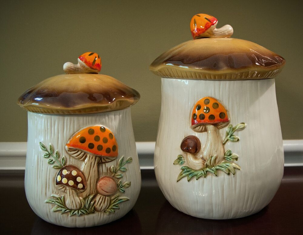 Cookie Jars Canisters Mushroom Vintage Set Of 2 Sears