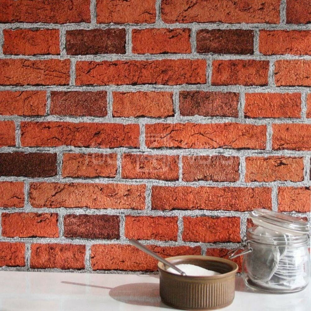 Embossed red brick wallpaper very realistic textured xx for Black 3d brick wallpaper