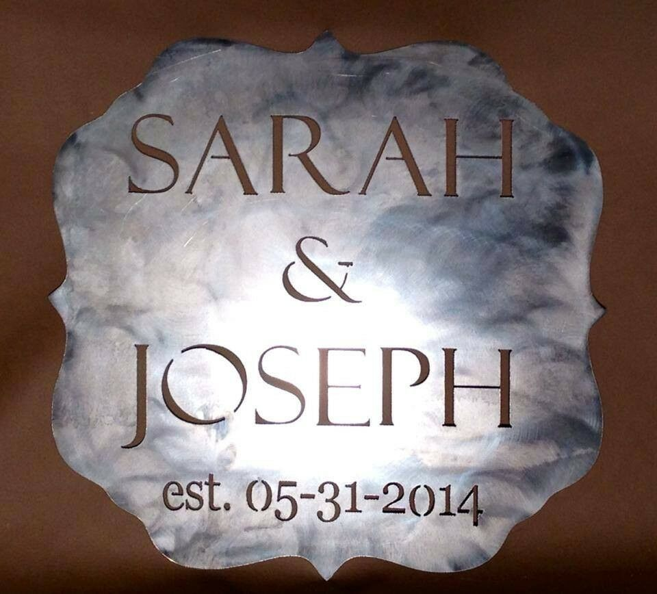 Custom Wedding Plaque Gift Sign Present Plasma Cut Metal