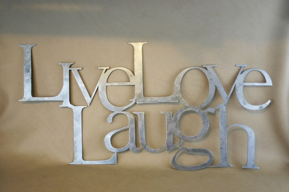 Live love laugh plasma cut metal wall art hanging home for Home decor wall hanging