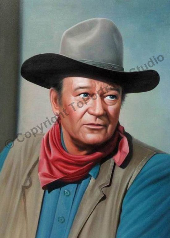 John wayne western original hand painted poster oil for Hand painted portraits from photos